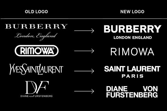 Fashion brand logos before and after