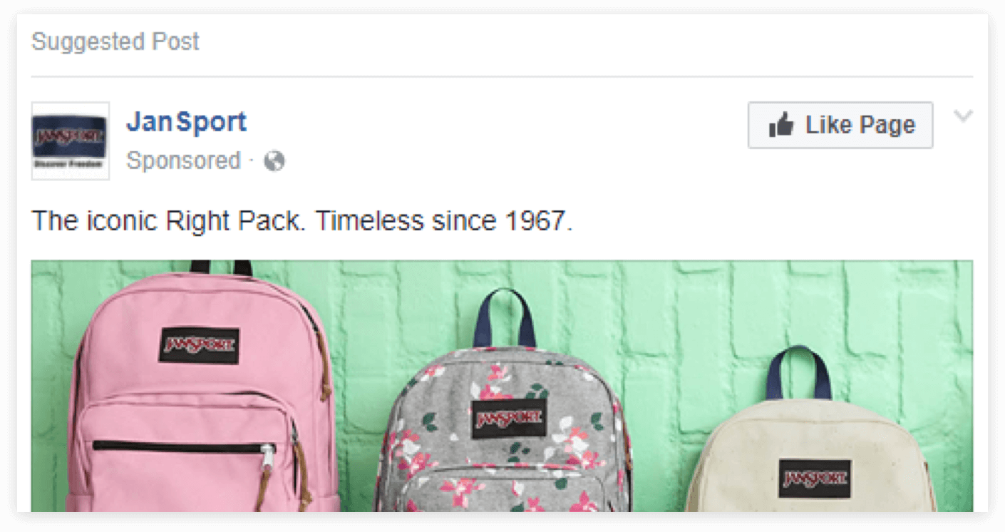 JanSport ad on Facebook