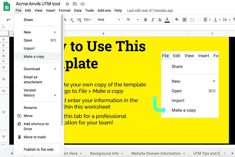 How to make a copy of a Google Sheet