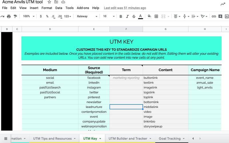 UTM key within UTM tool Google Sheet