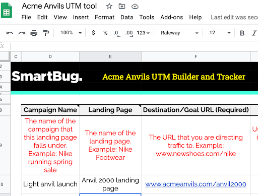 Build your URLs within UTM Google Sheet tool