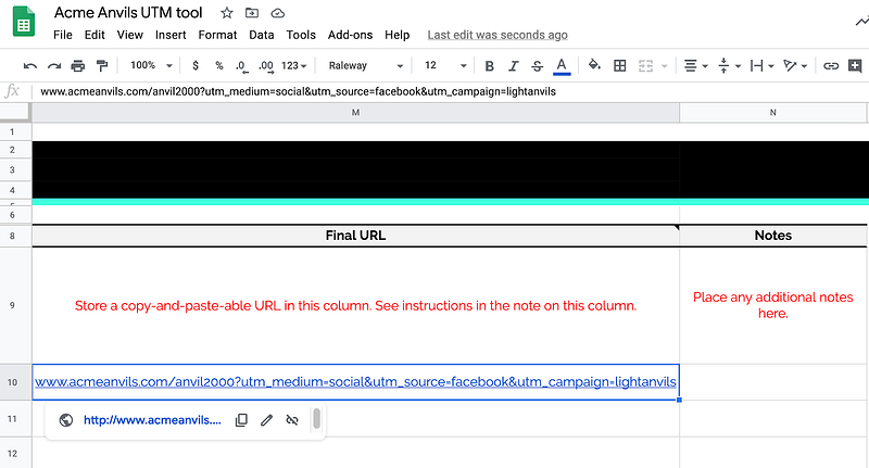 Tracked URL within UTM tool in Google Sheet