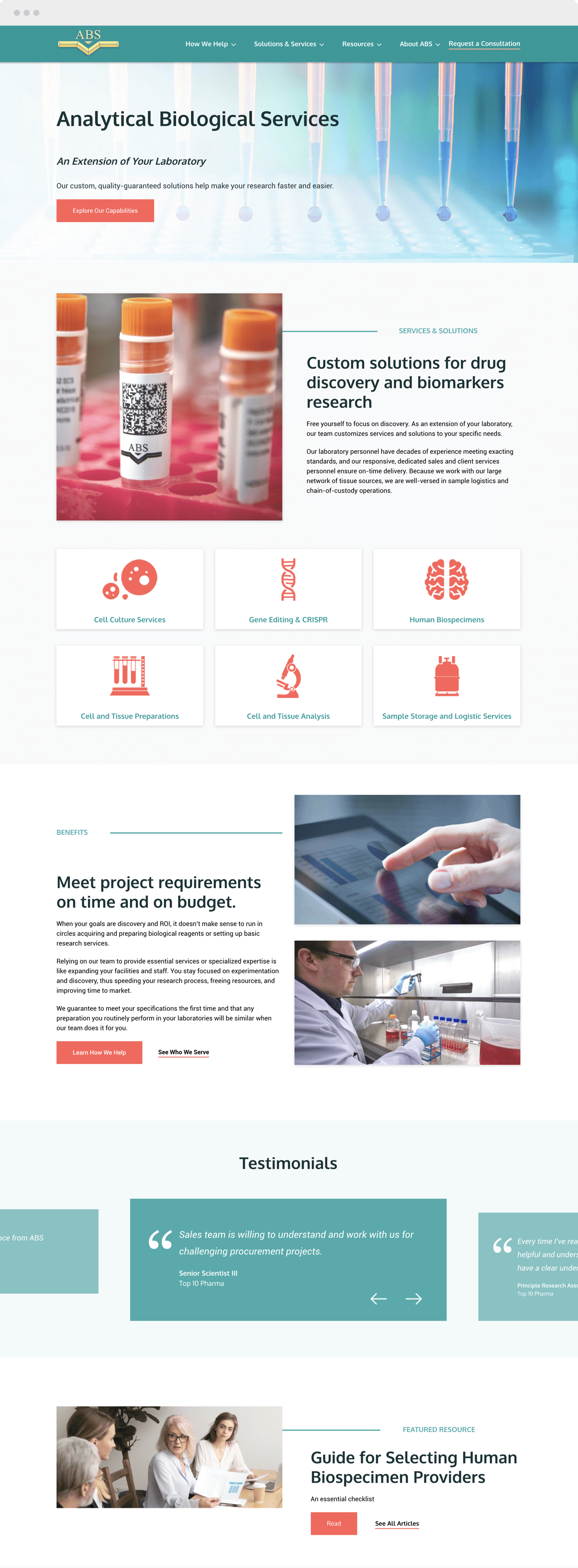 ABS home page website design
