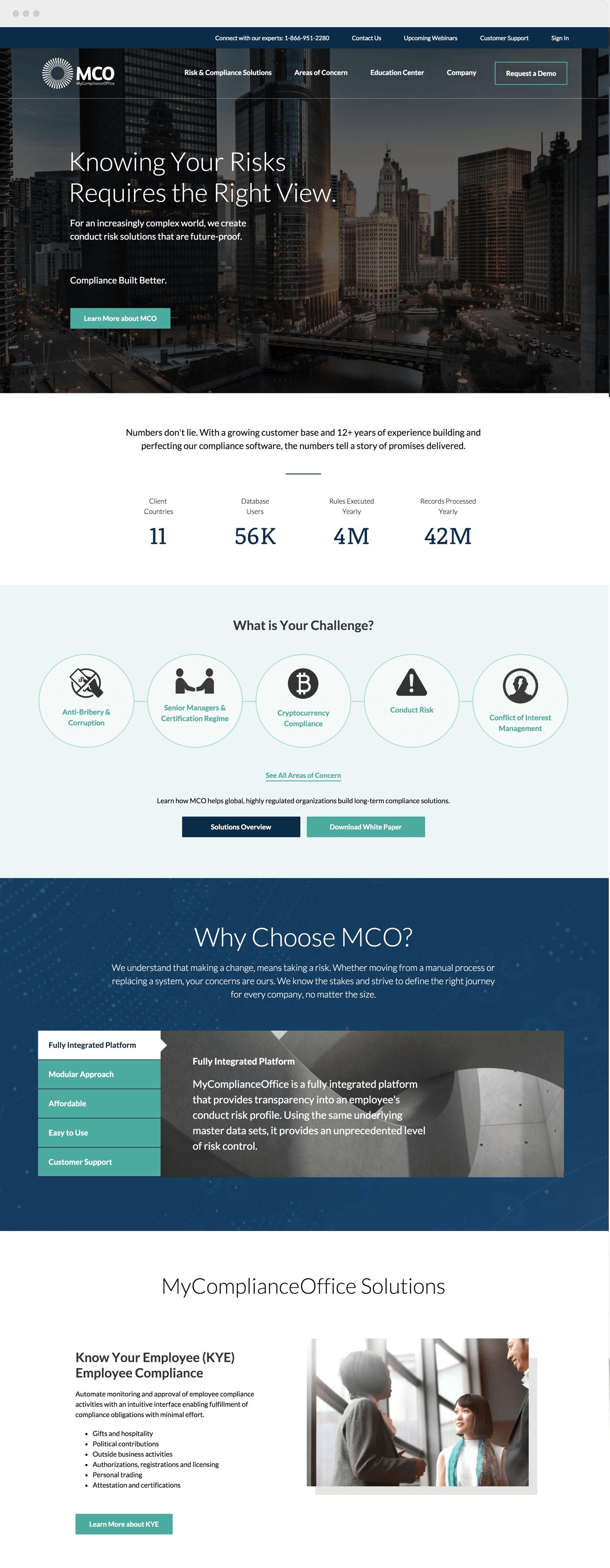 MyComplianceOffice home page website design