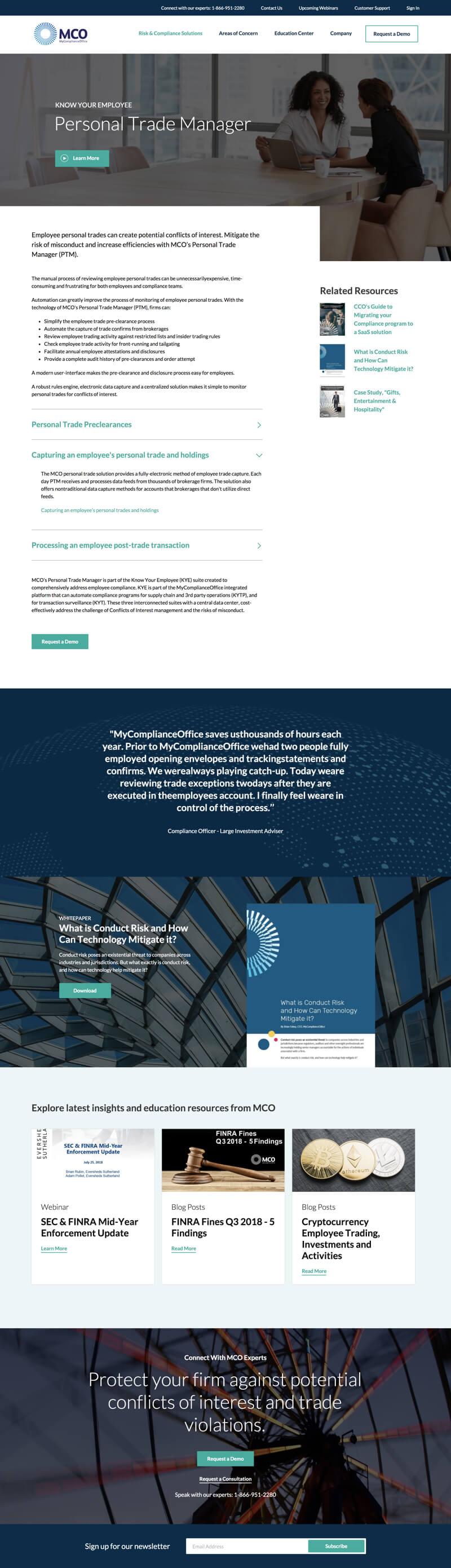 MyComplianceOffice website design