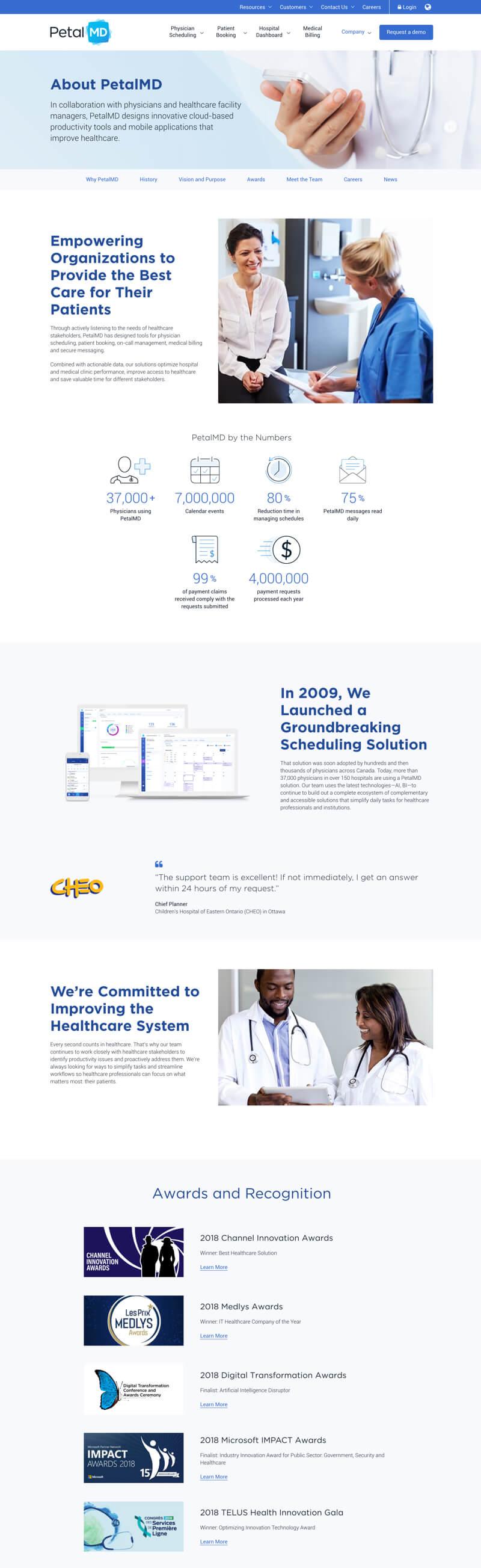 PetalMD website design