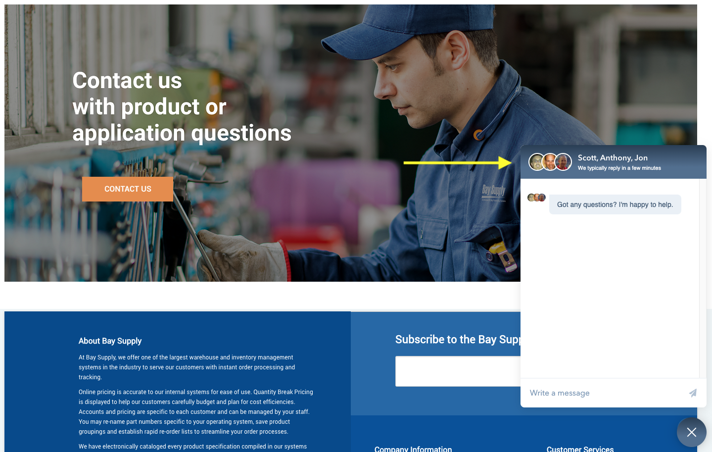 Bay Supply Manufacturing Live Chat