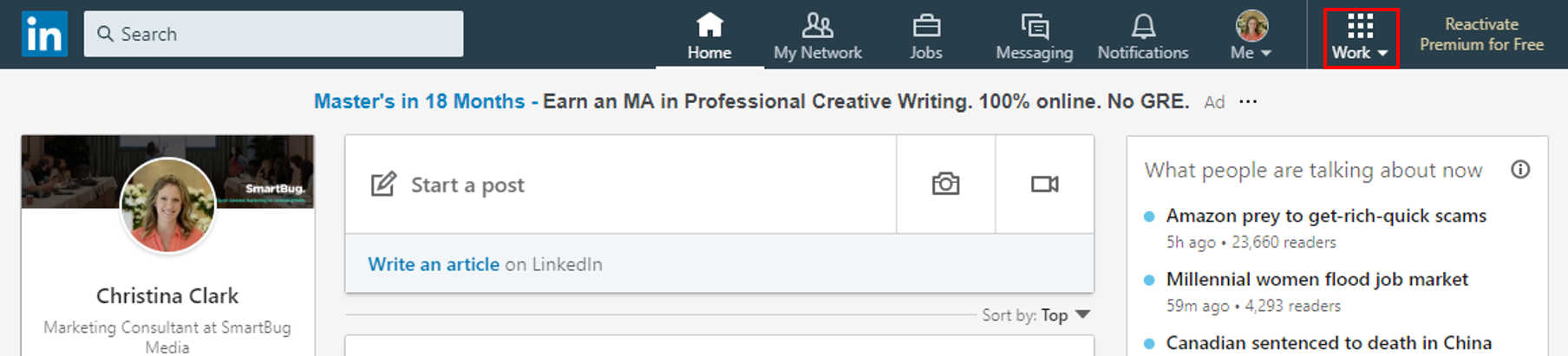 Screenshot with box demonstrating where to access LinkedIn groups