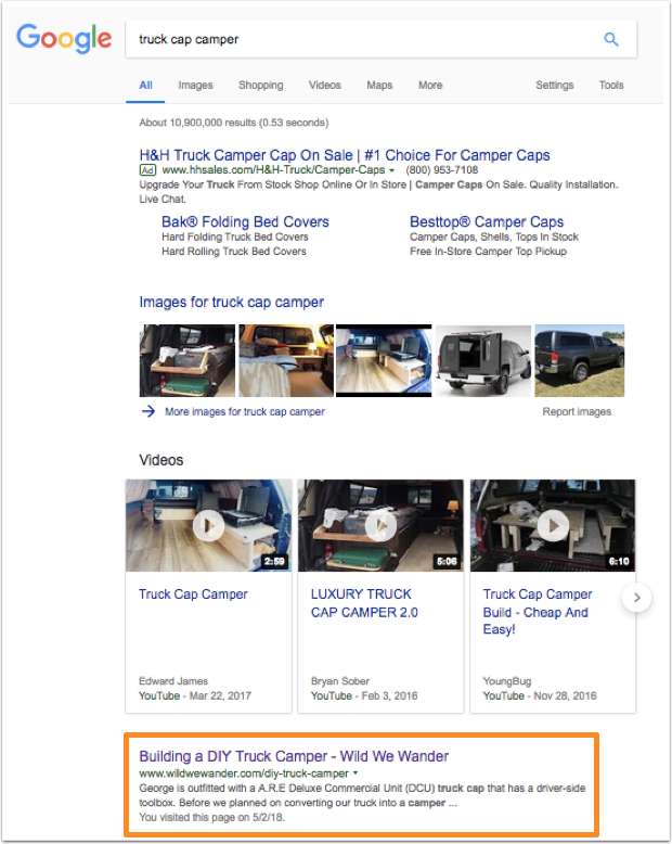 Google search results for truck cap camper