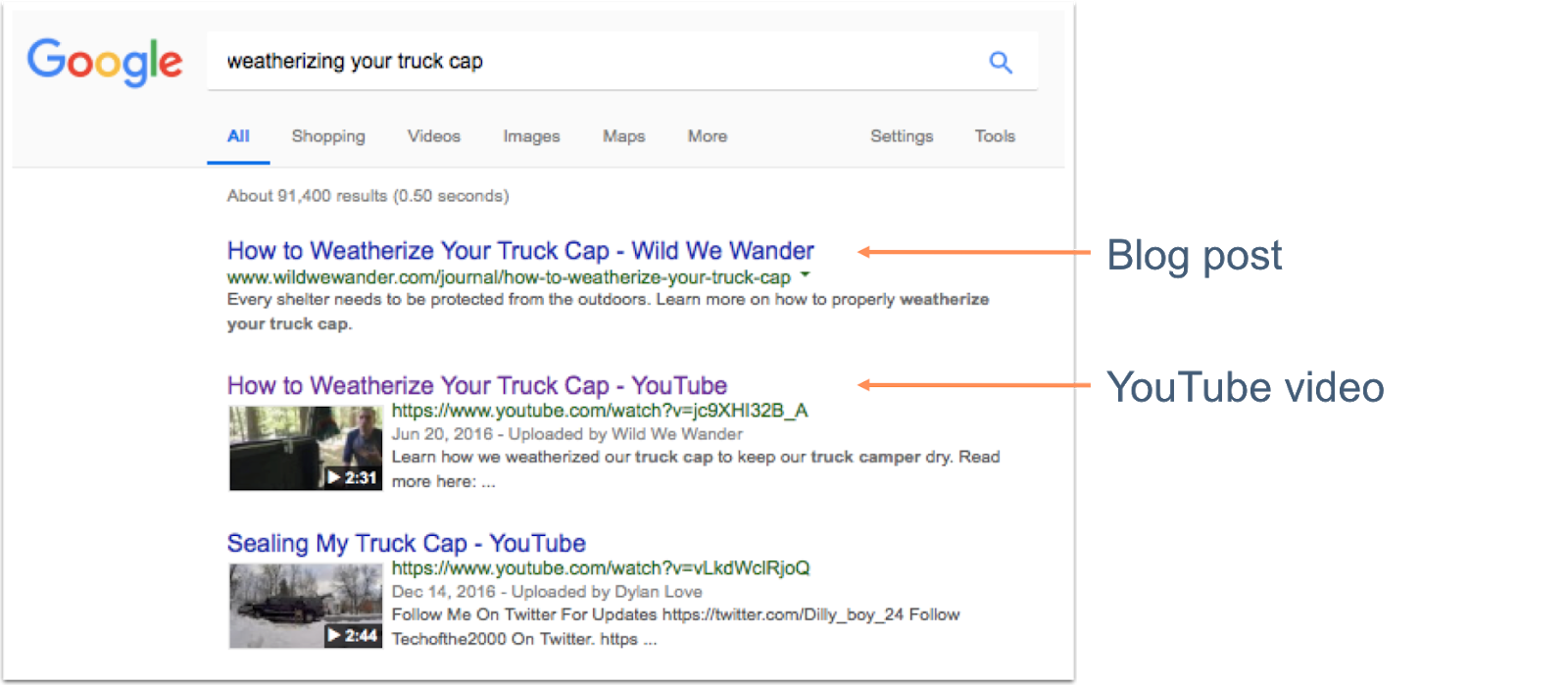 Google search results displaying YouTube