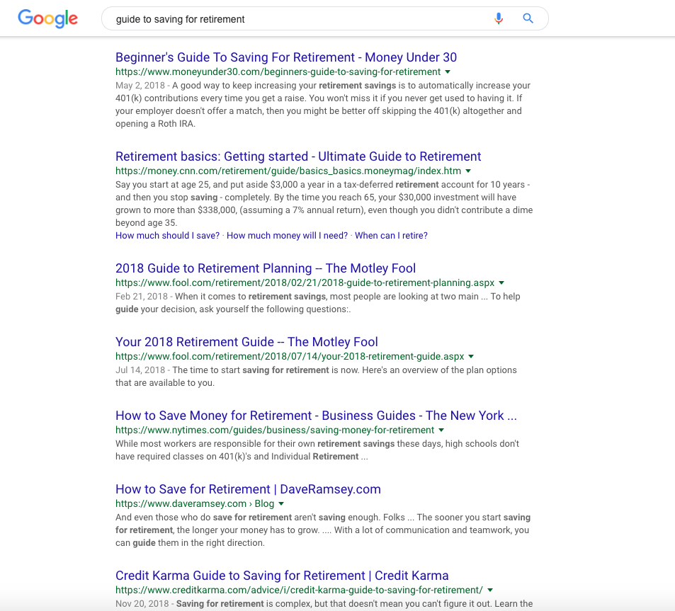 """google search results for """"guide to saving for retirement"""""""