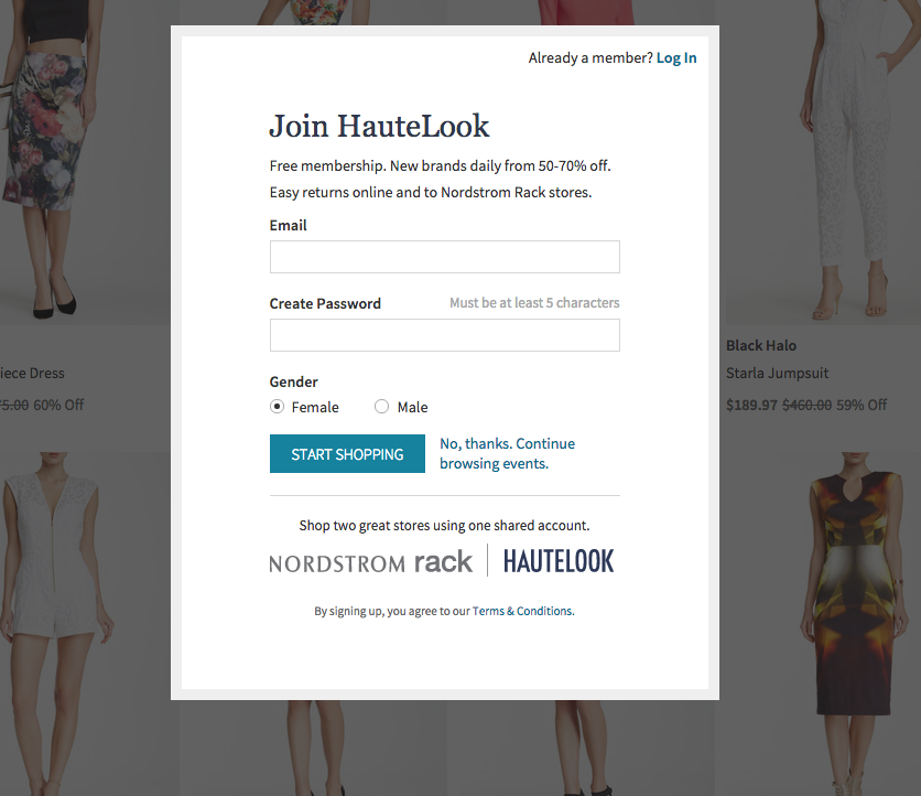 hautelook call to action example