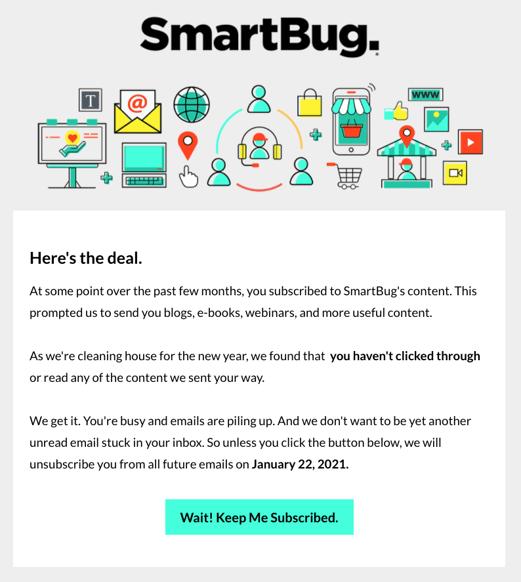 SmartBug Unsubscribe Email