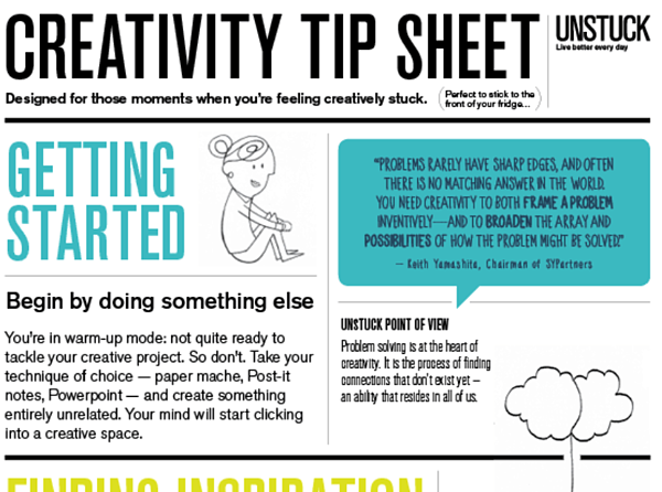 Creativity tip sheet via Unstuck