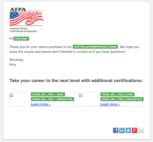 AFPA example email personalization tokens with HubSpot