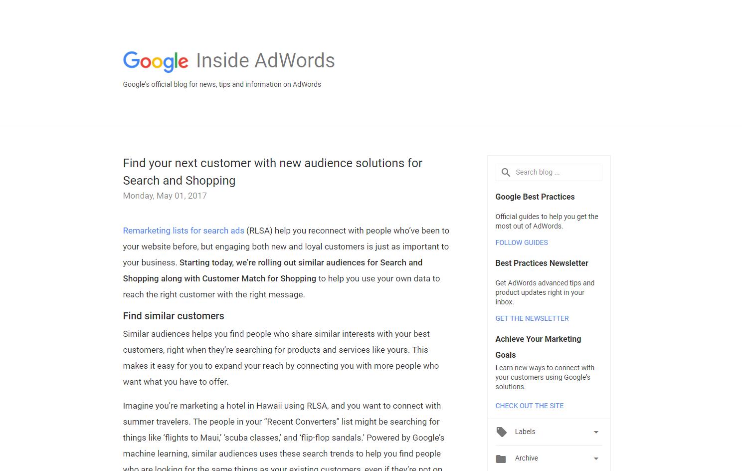 Google's Inside AdWords