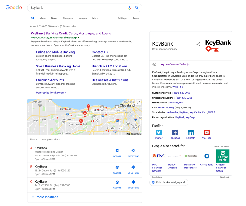 Key Bank Google Search - Why Local SEO Is Essential for Financial Companies