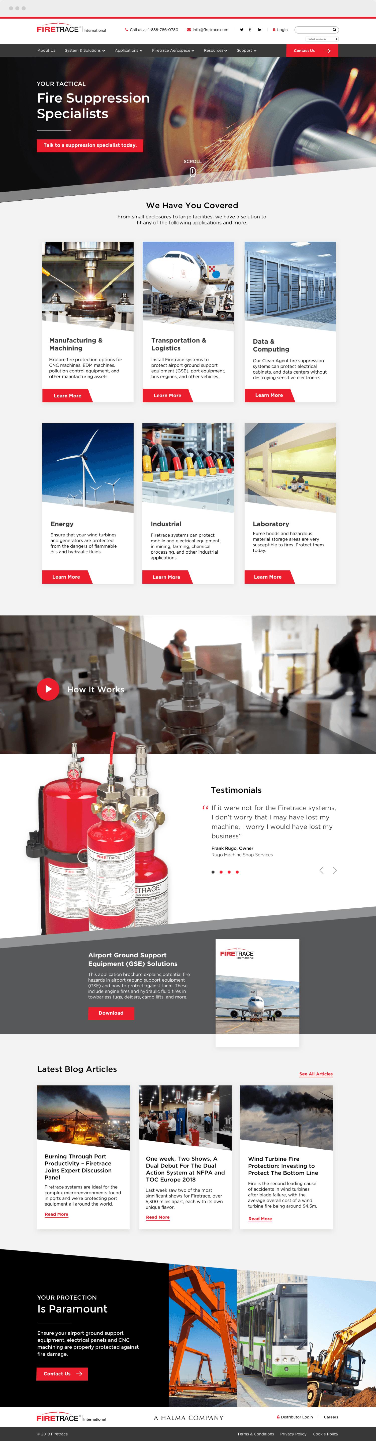 Homepage Firetrace Website on HubSpot CMS