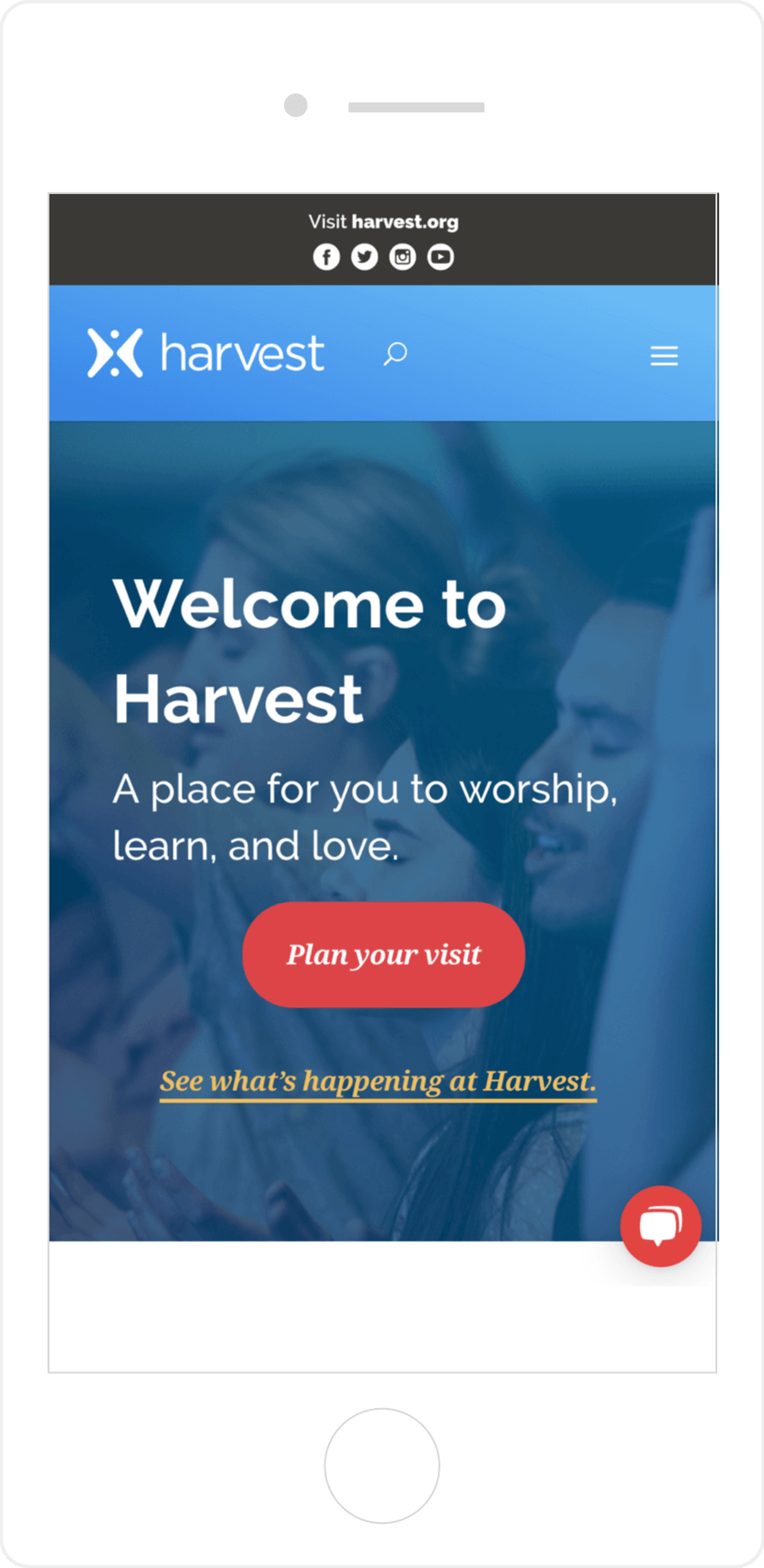 Mobile Homepage Harvest Church