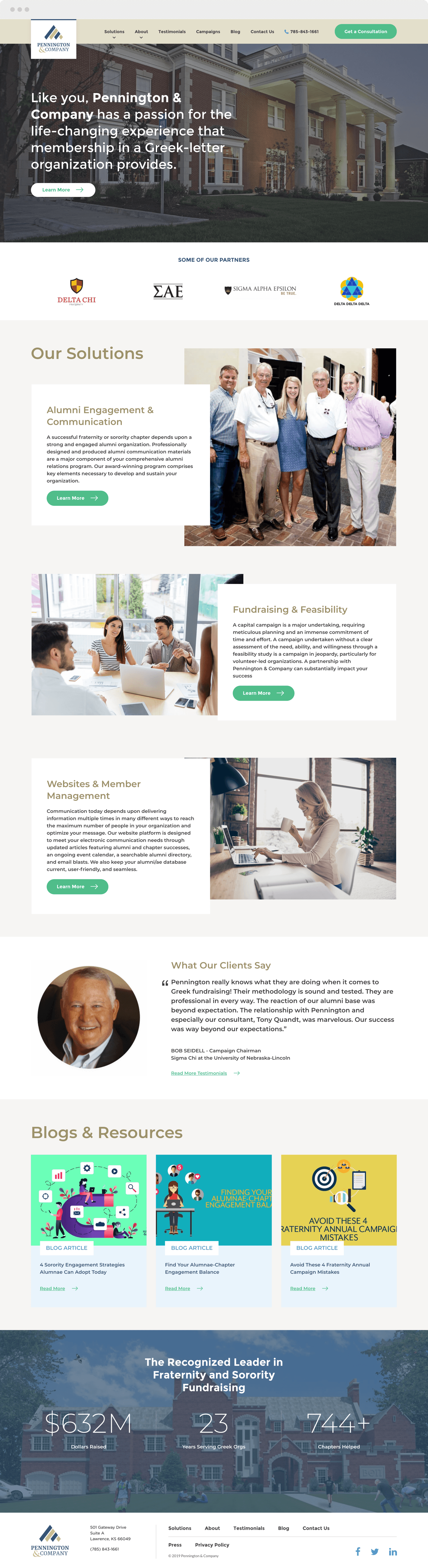 Homepage Design for Pennington and Company