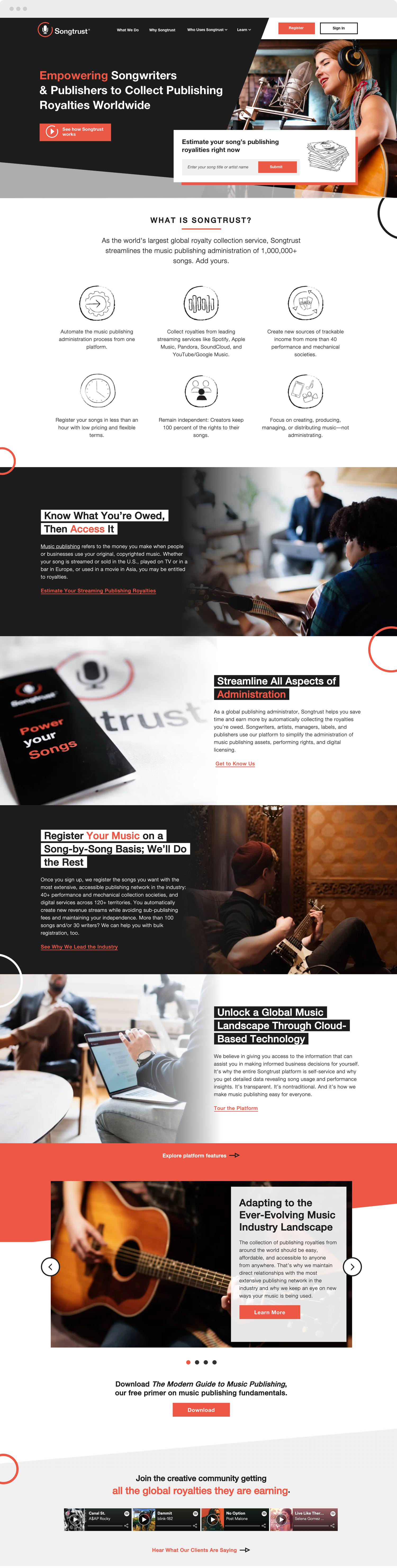 Songtrust Homepage on HubSpot CMS