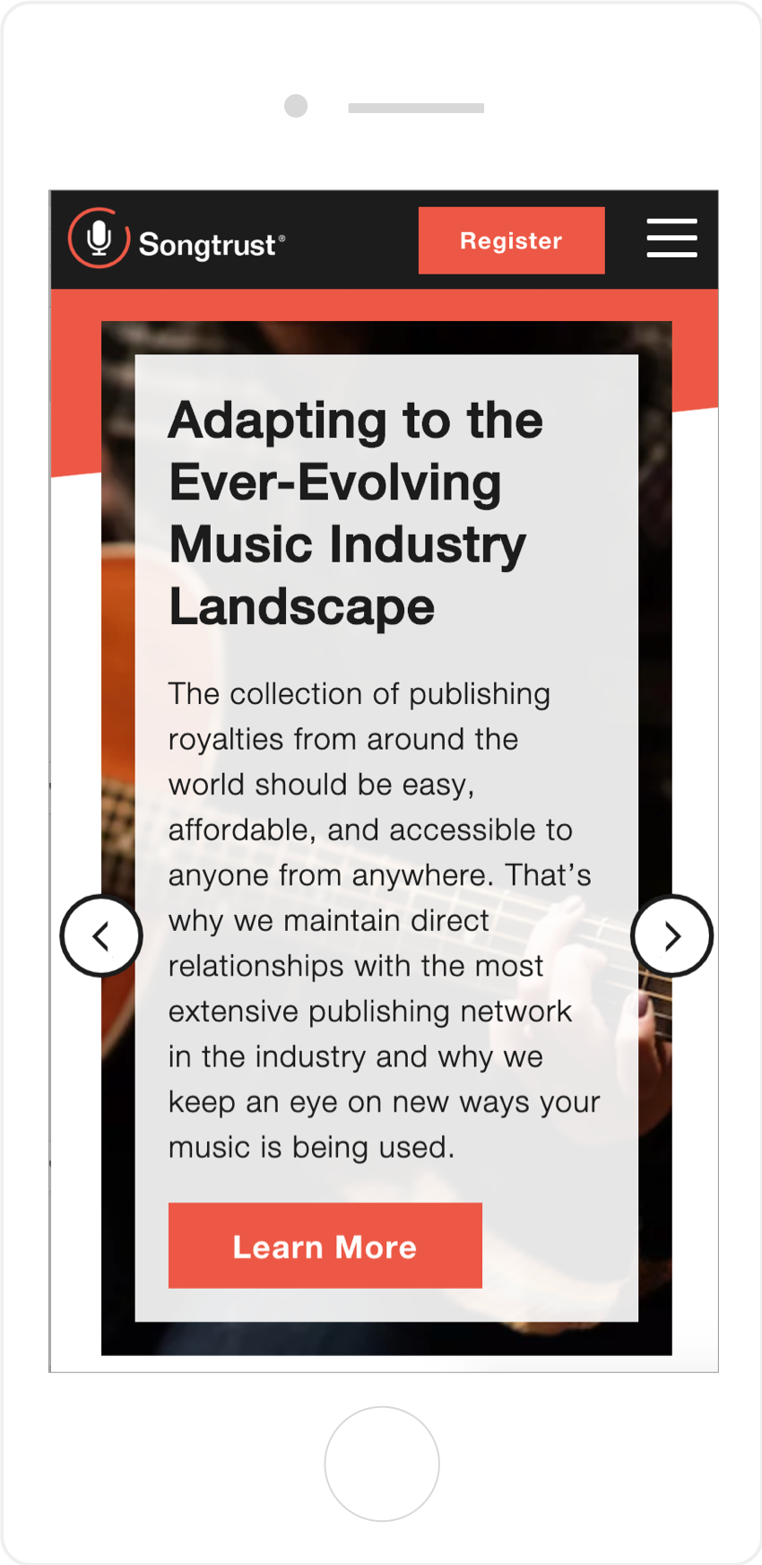 Mobile Responsive Interior Page for Songtrust