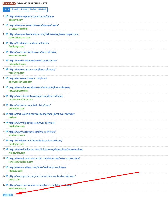 SEMrush organic search results page