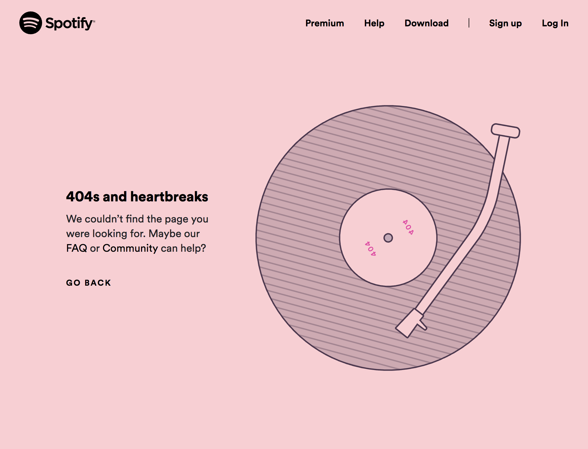 Spotify 404 error page