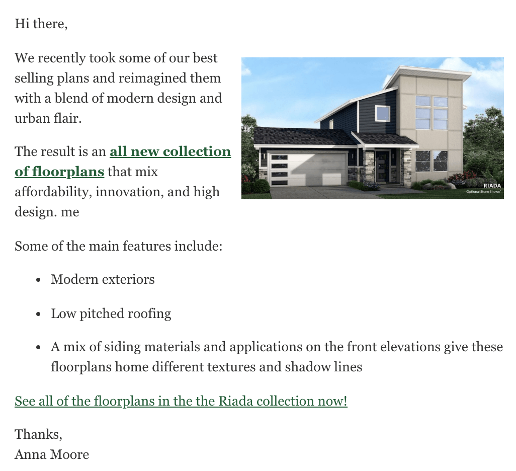 homebuilder email example