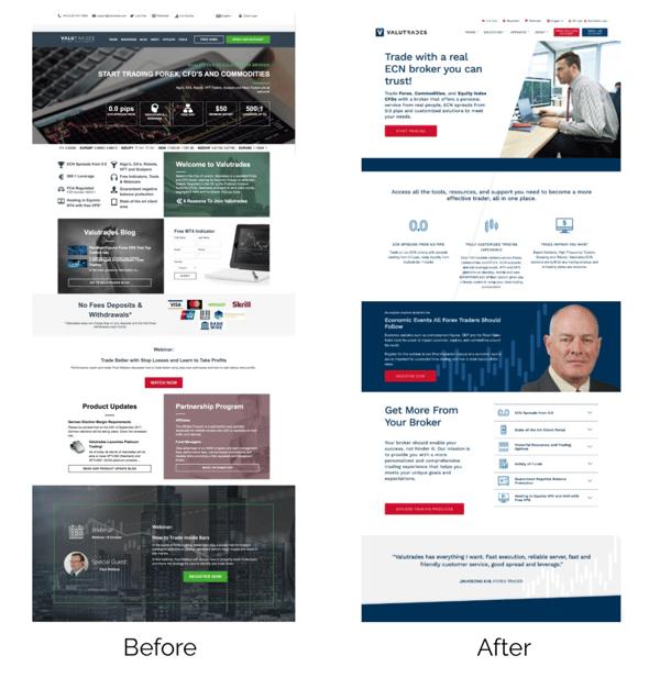 Valutrades Website Before & After SmartBug Media