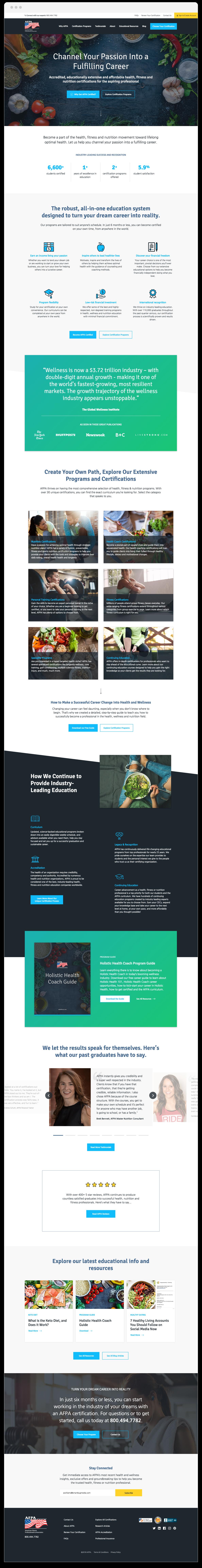AFPA home page website design