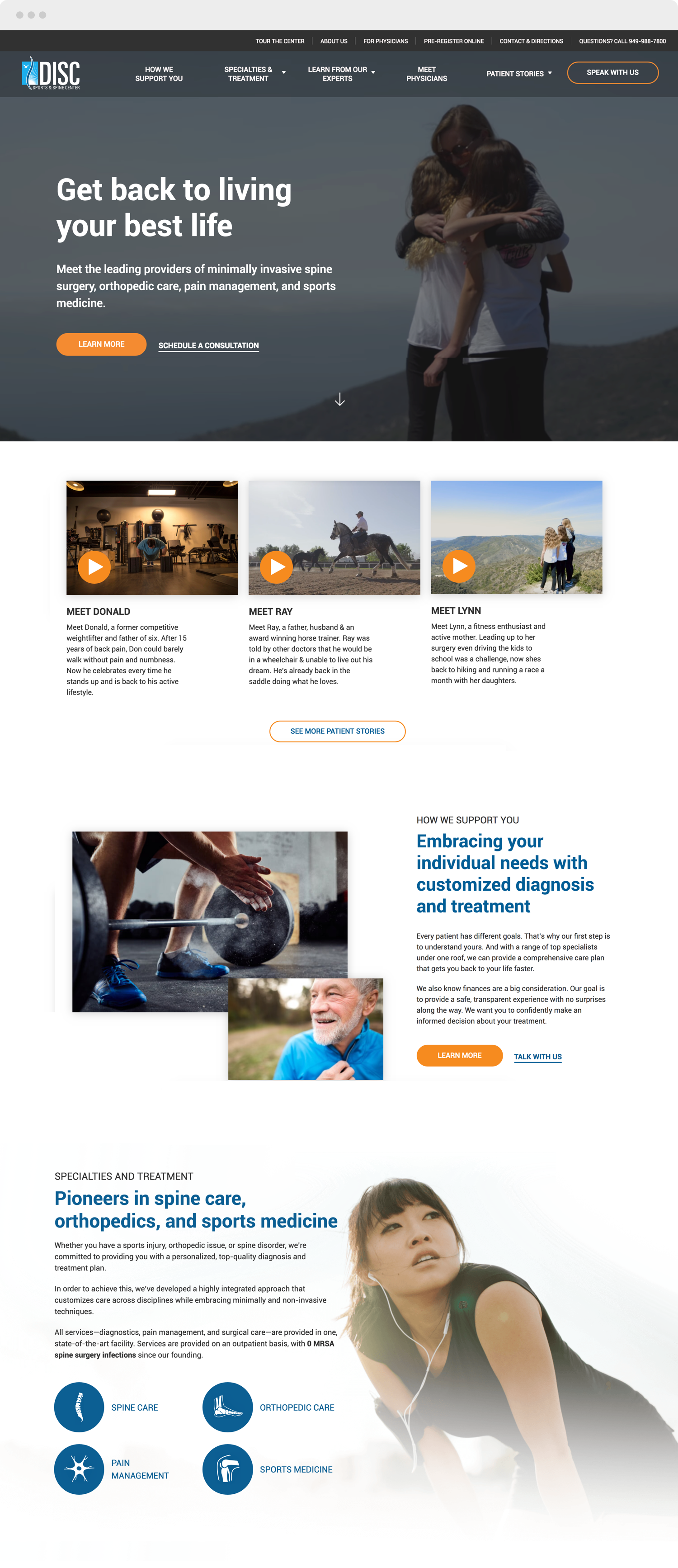 DISC home page website design