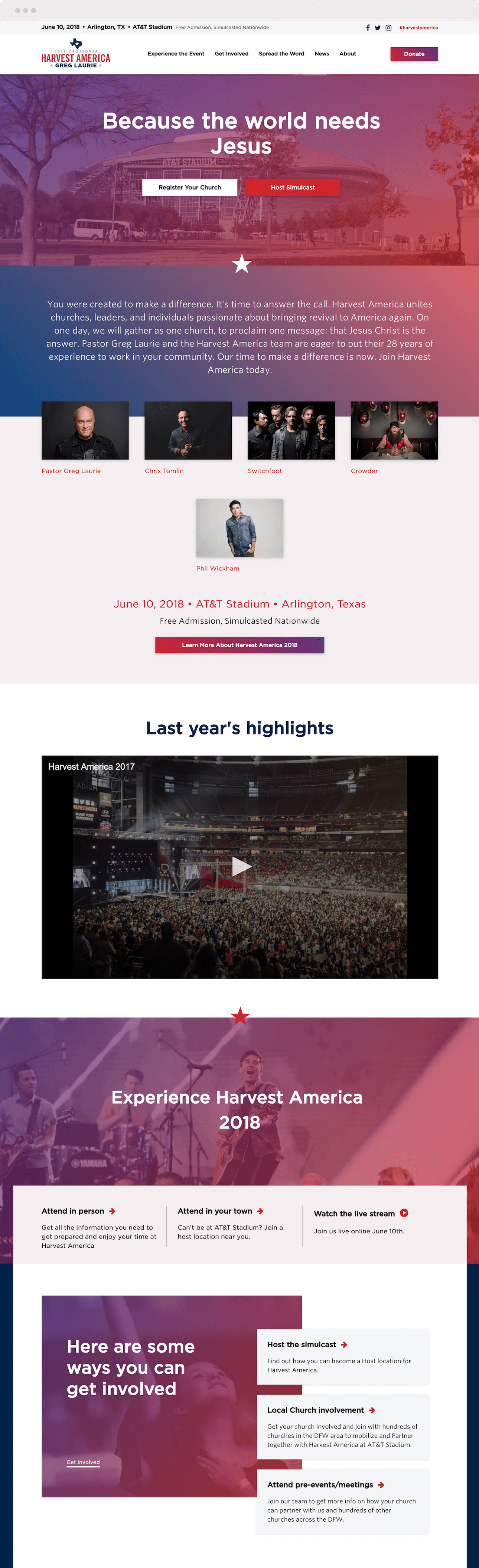 Harvest America website design