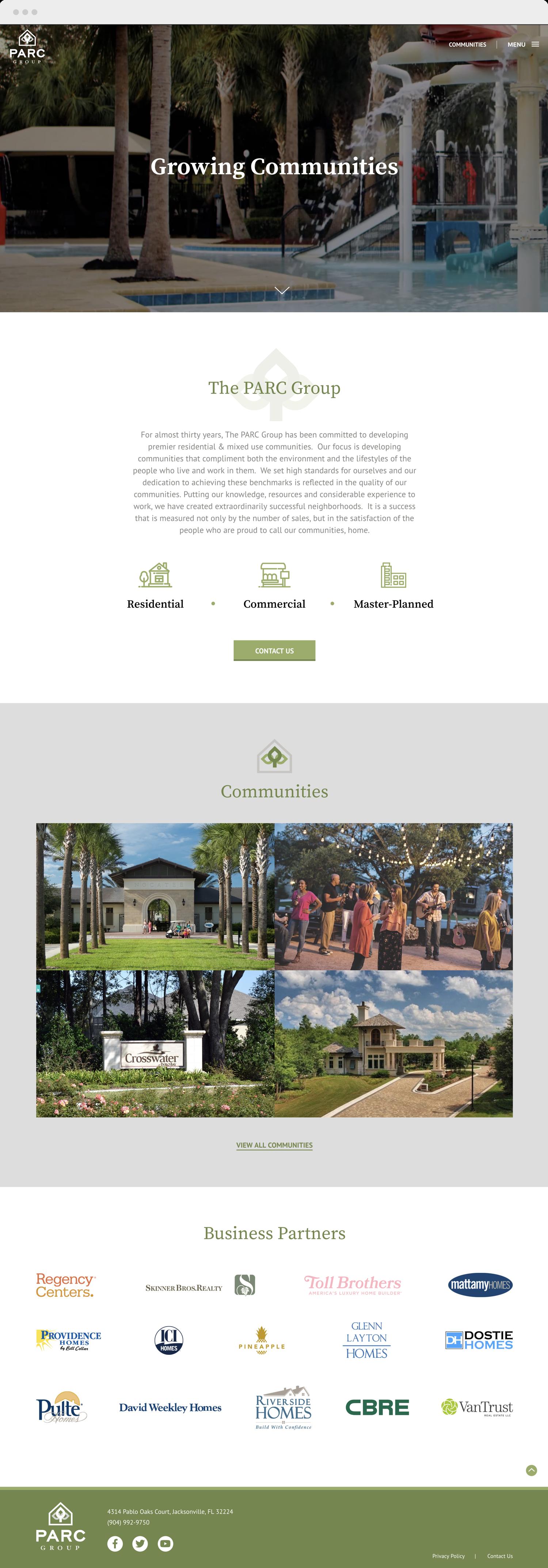 PARC Group home page website design