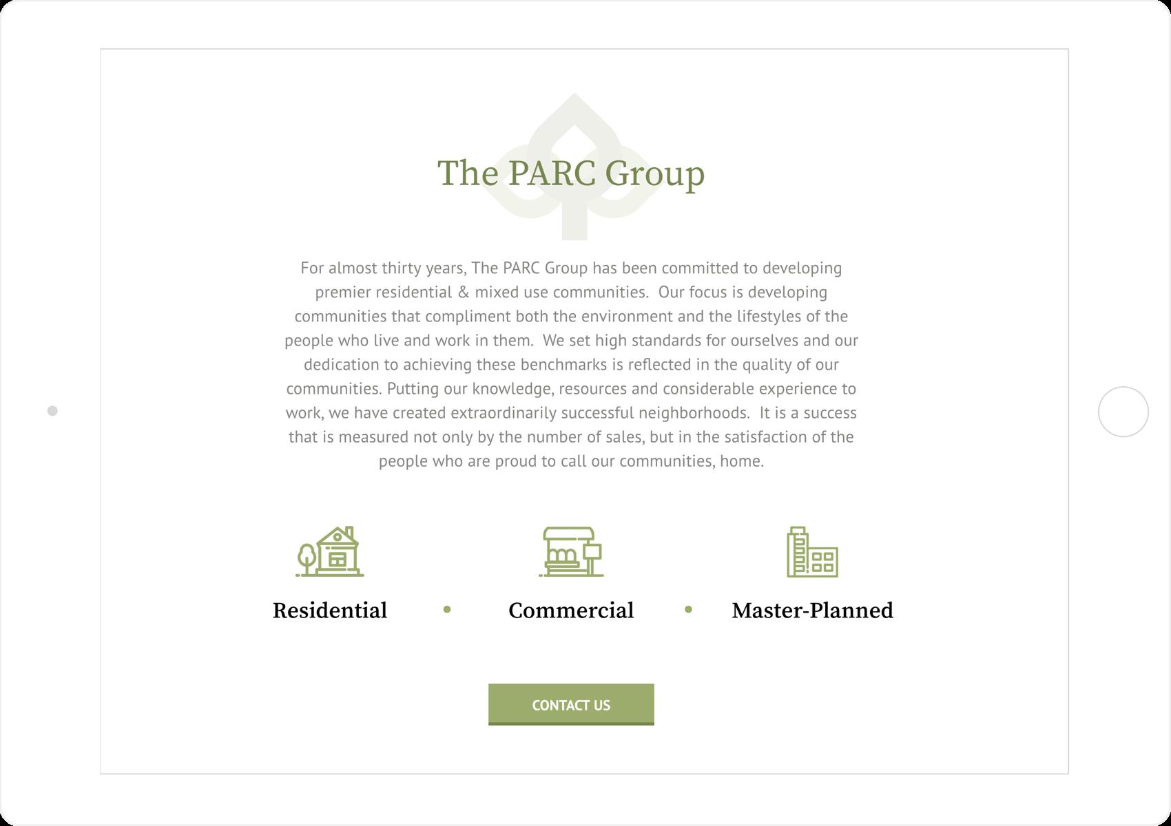 PARC Group tablet mobile web design