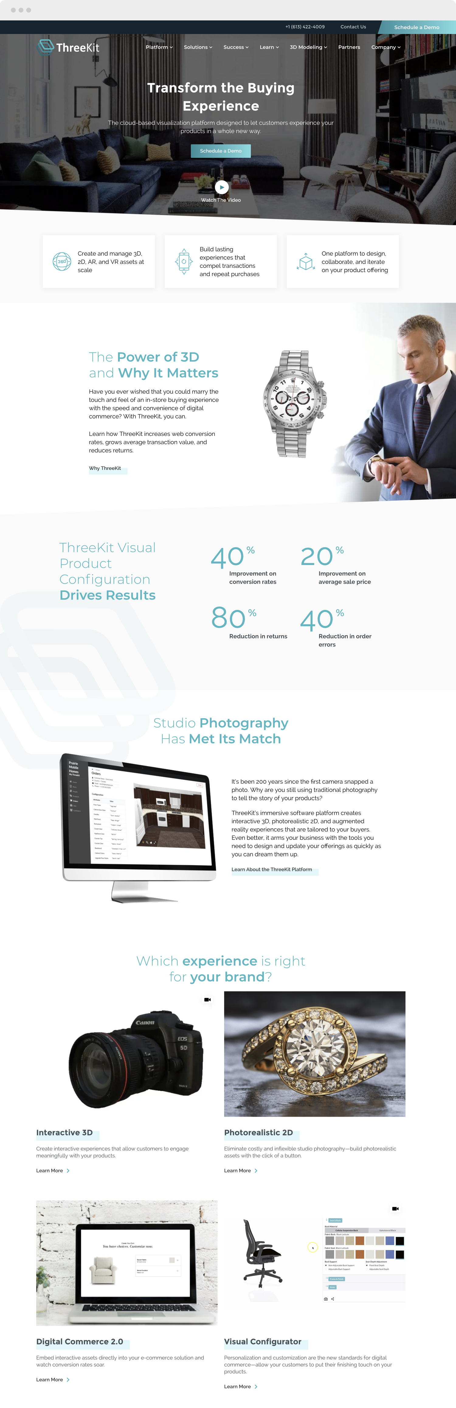 ThreeKit home page website design