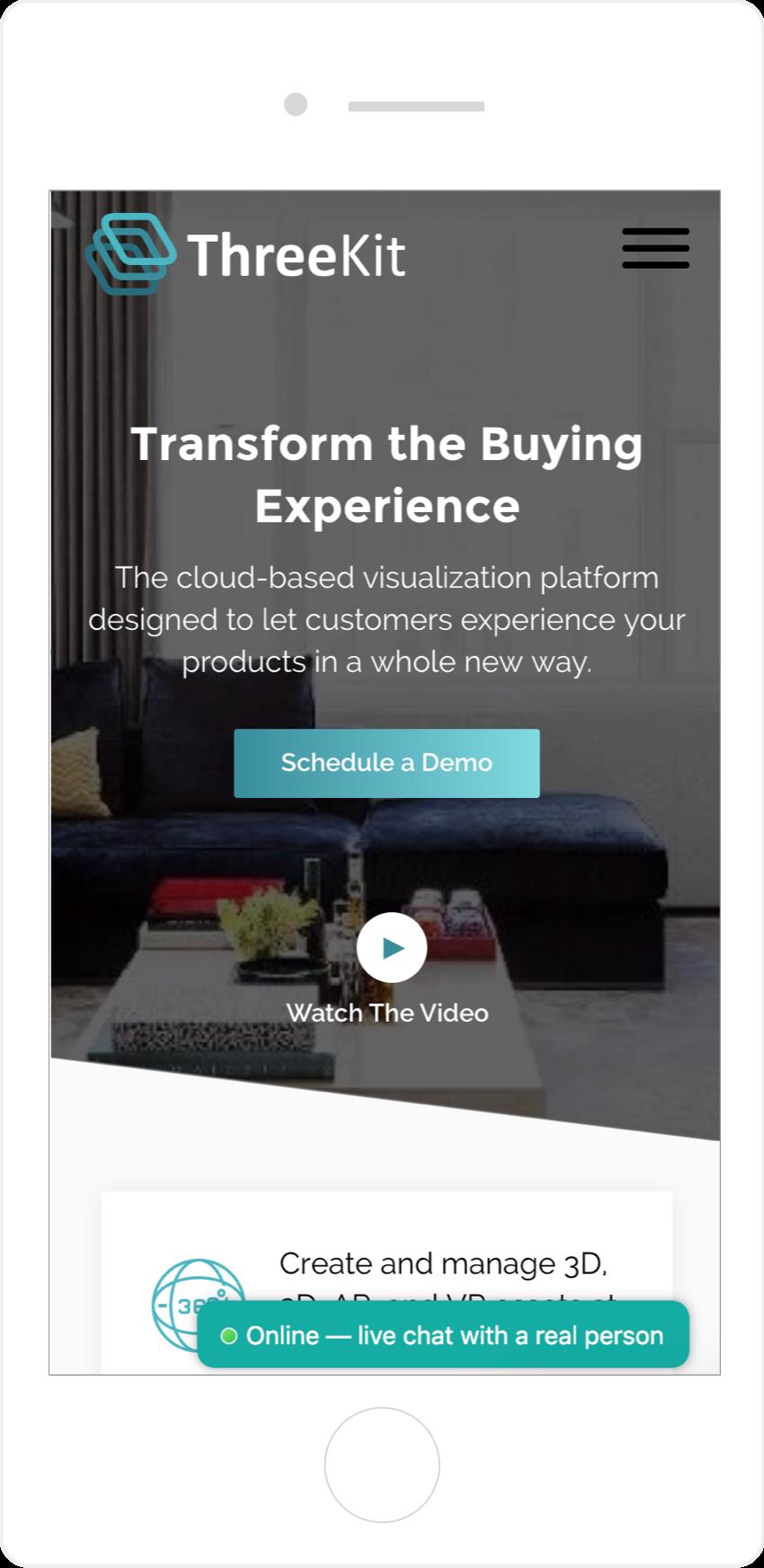 ThreeKit mobile web design