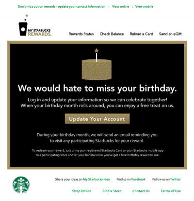 Starbucks Reengagement Email