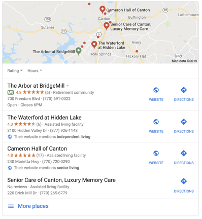 bridgemill local map pack google ad