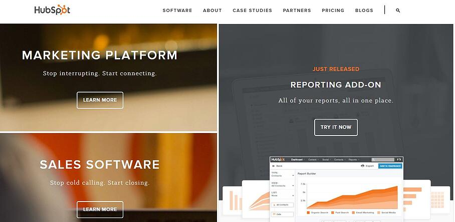 hubspot homepage design example