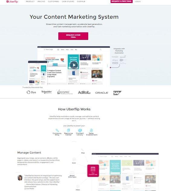 upberflip homepage design example