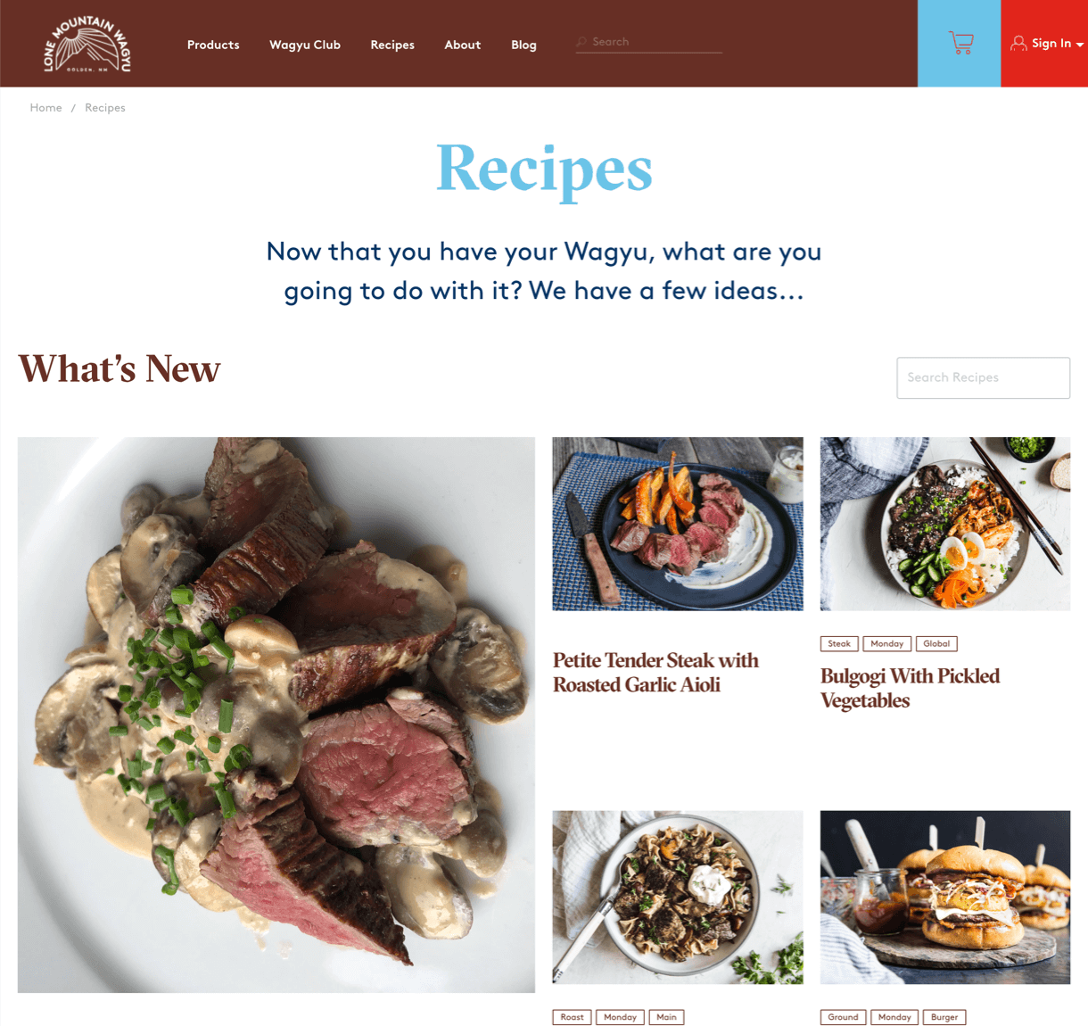 Lone Mountain Wagyu recipe page on desktop