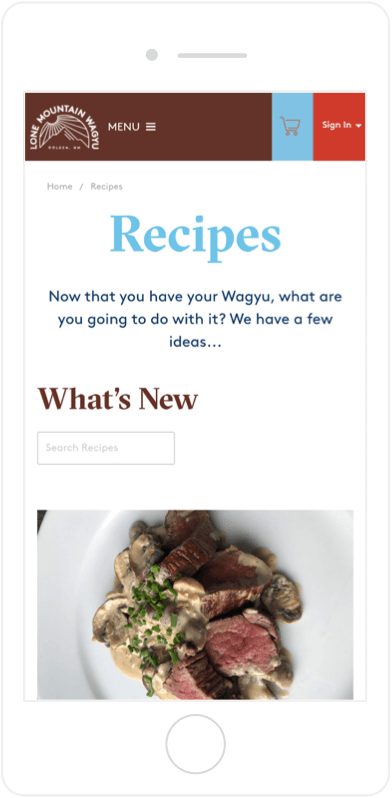 Lone Mountain Wagyu recipe page on mobile