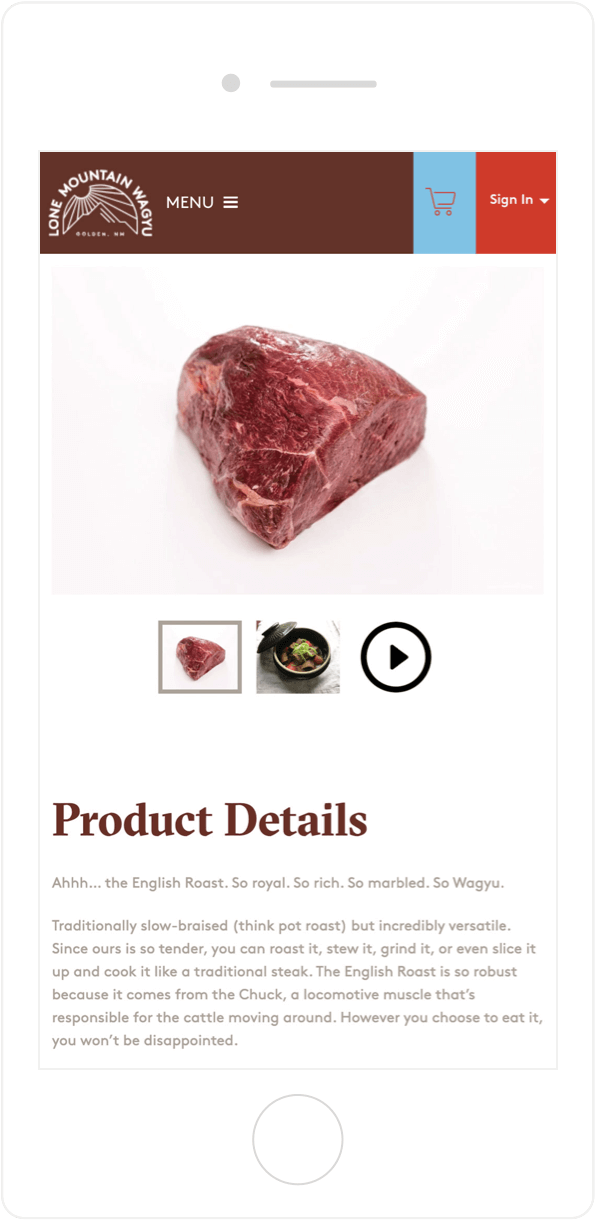 Lone Mountain Wagyu product page on mobile