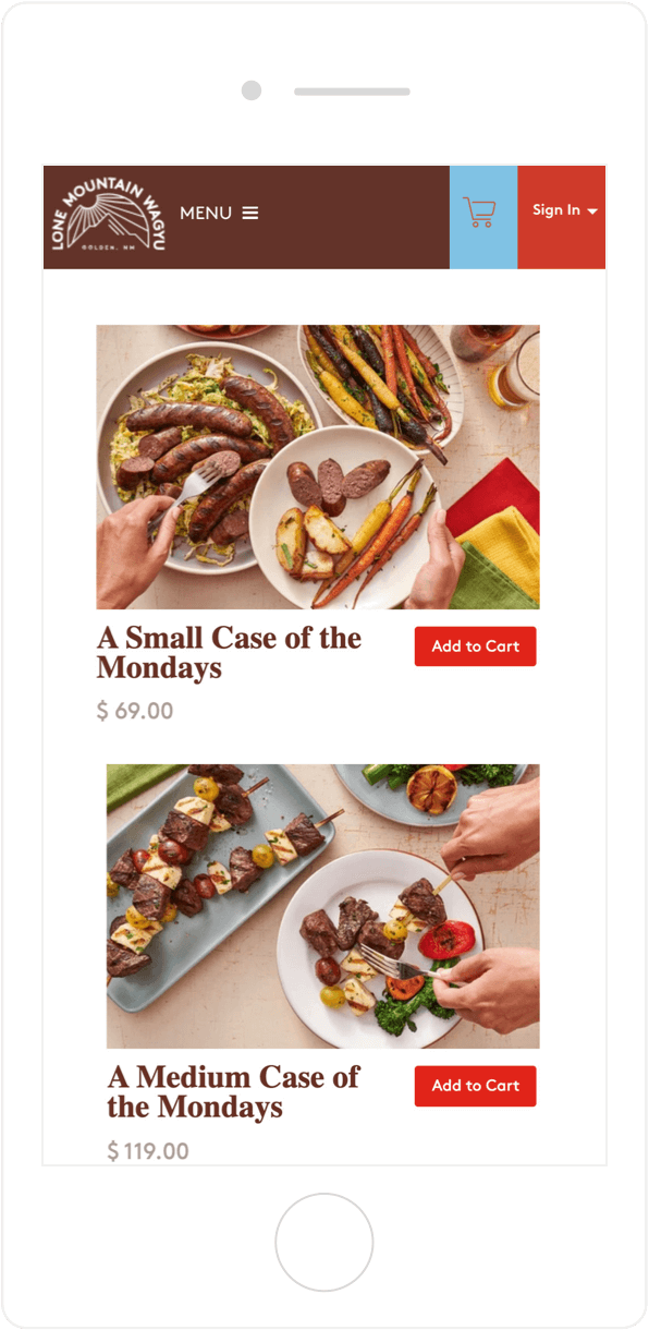 Lone Mountain Wagyu product page on mobile2
