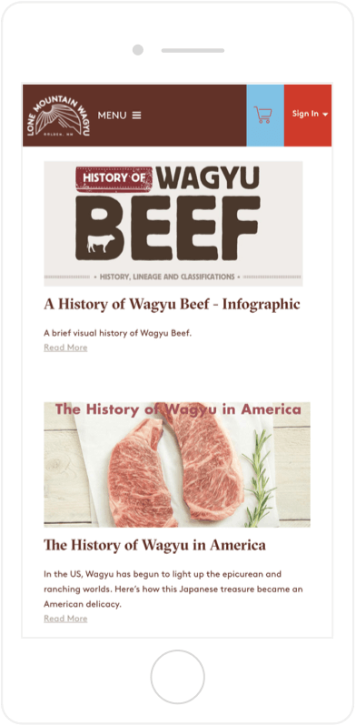 Lone Mountain Wagyu mobile secondary scrolling feature on the About page