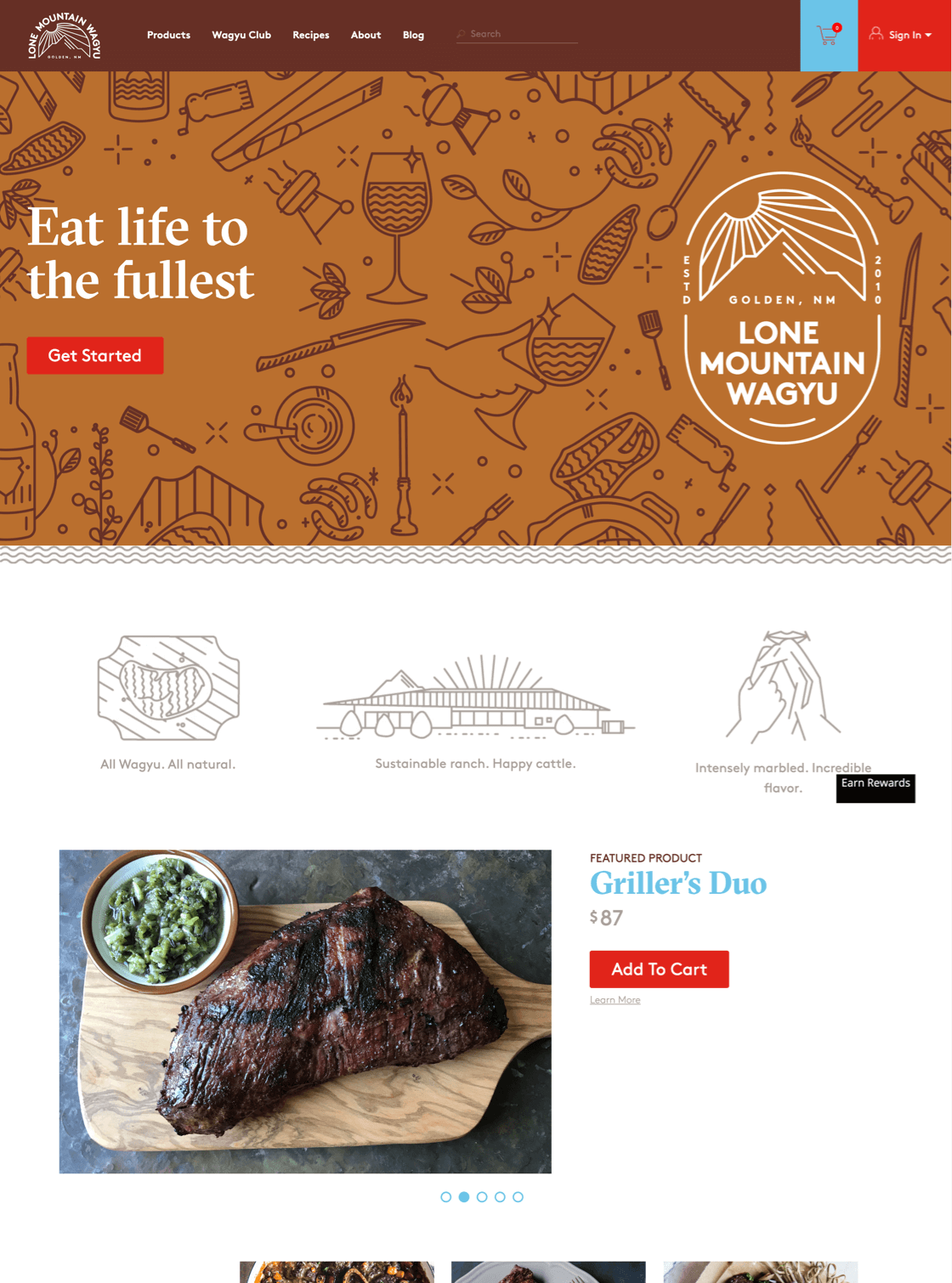 Lone Mountain Wagyu website on desktop