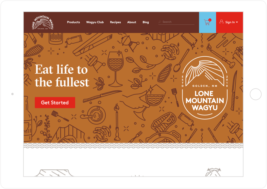 Lone Mountain Wagyu website on tablet