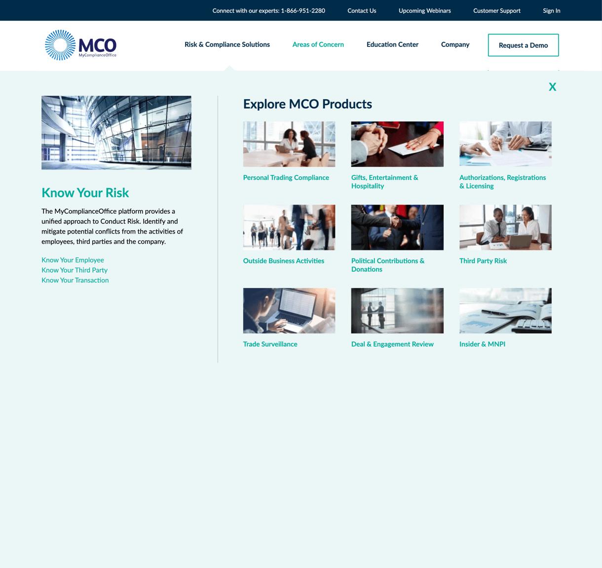 MCO best-in-class website desktop