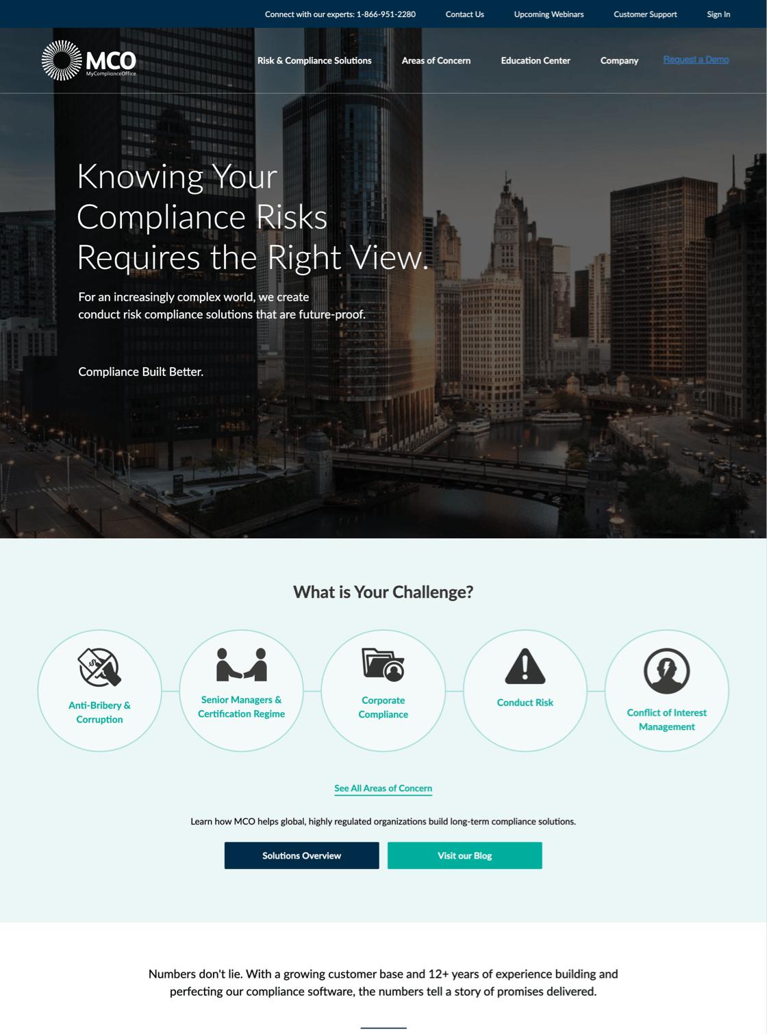MCO website desktop view